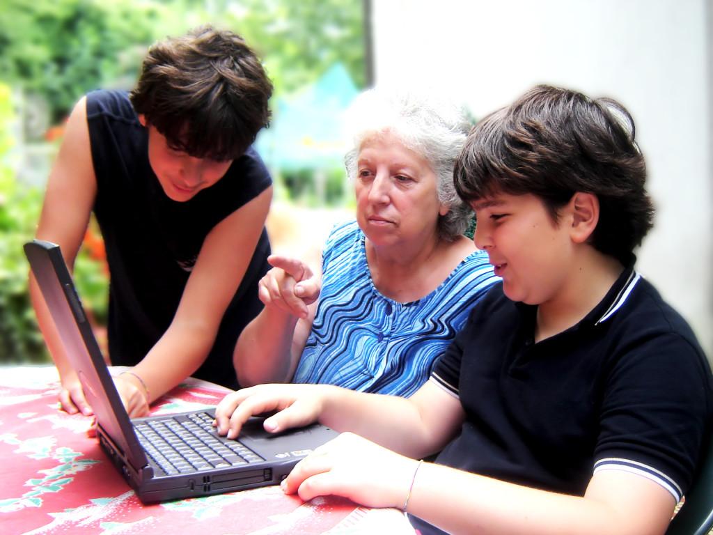 Grandmother and Kids
